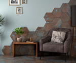 Copper Blue Hexagon Tiles