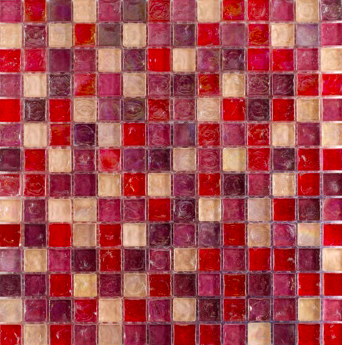 Crushed Pearl Deep Pink Mosaic Tiles