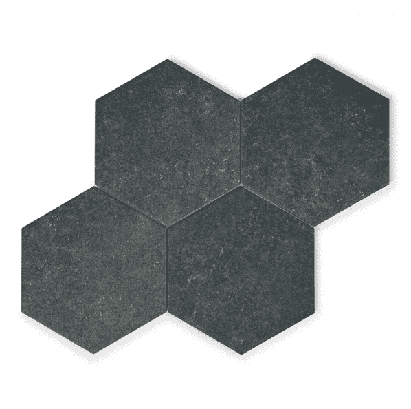 Dark Grey Stone Effect Hexagon Tiles