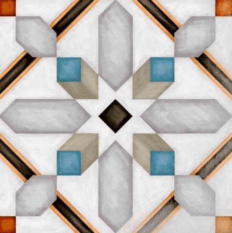 Diamond Multi-Colour Patterned Tile