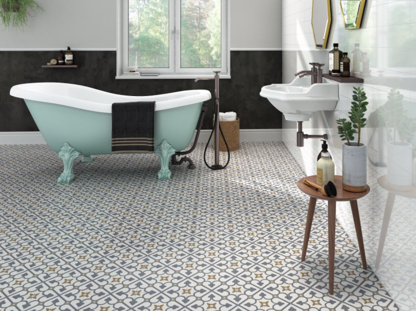 Dover Royal Blue And Gold Encaustic Effect Tiles