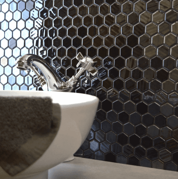 Eclipse Riven Glass Hexagon Mosaic Tiles