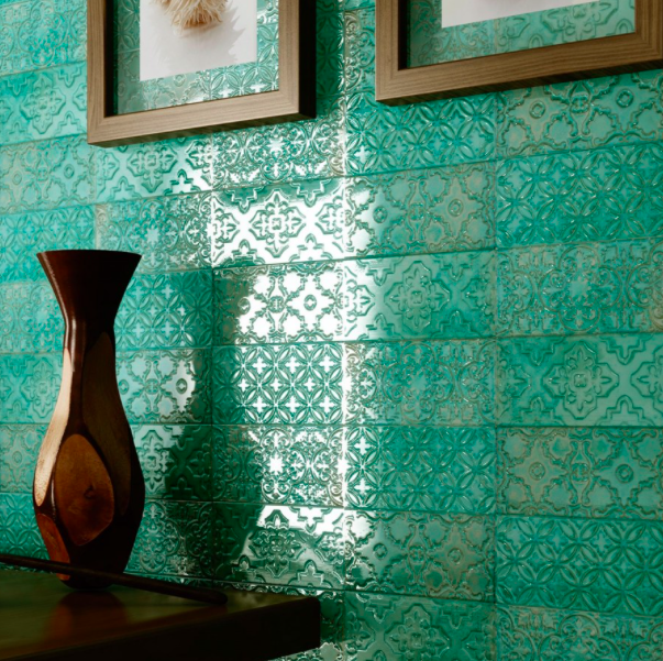 Embossed Platinum Green Metro Tiles