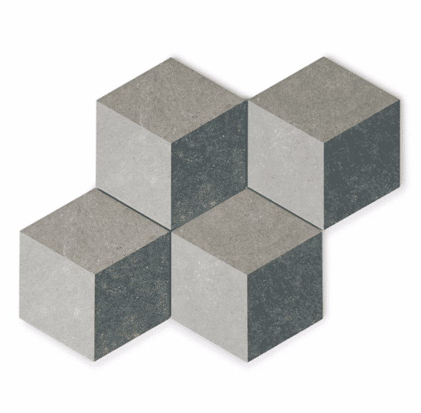 Encaustic Cube Hexagon Tiles