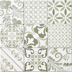 Etsi Mini Victorian Green Encaustic Effect Tiles