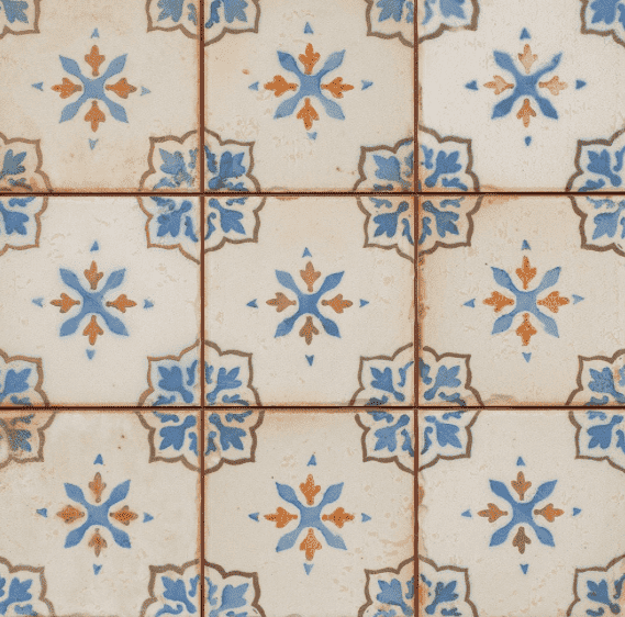 Falo Blue Hand Painted Effect Encaustic Tile
