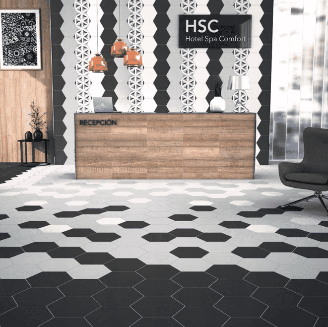 Flat Black Hexagon Tiles