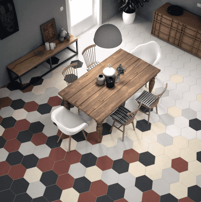 Flat Pewter Hexagon Tiles