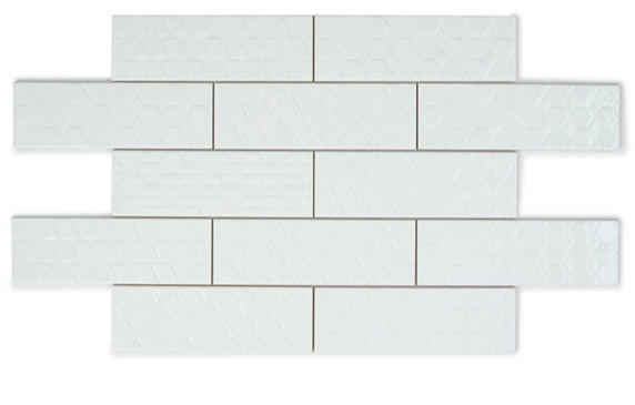Geometric Embossed White Metro Tiles