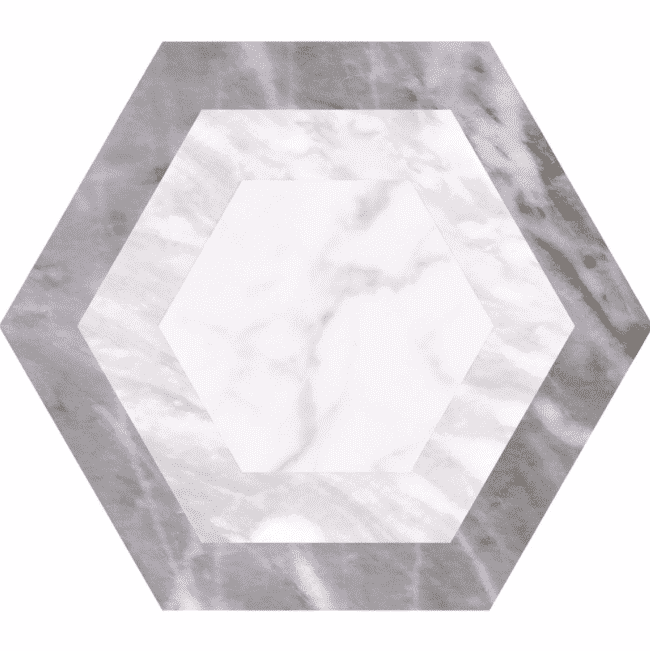 Geometric Grey Marble Hexagon Tiles