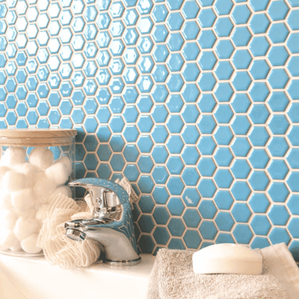 Gloss Blue Hexagon Mosaic Tiles