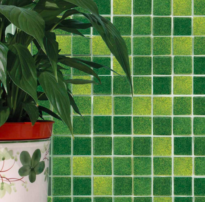 Golden Green Mixed Mosaic Tiles