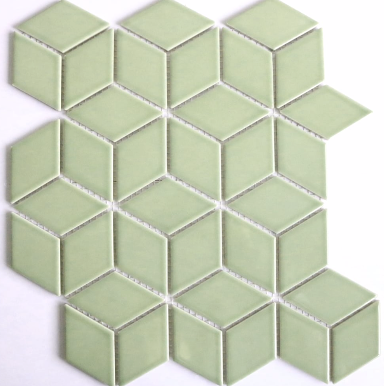 Green Cube Effect Gloss Hexagon Mosaic Tiles