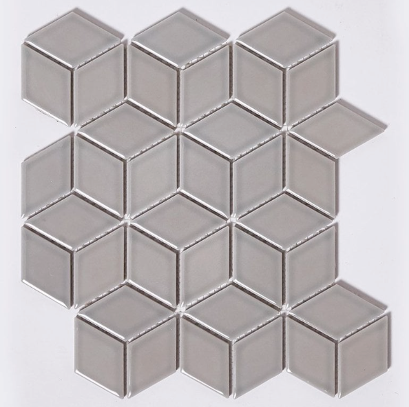 Grey Cube Effect Gloss Hexagon Mosaic Tiles