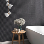 Gum Drop Matt Black Mosaic Tiles