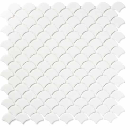 Gum Drop Matt White Mosaic Tiles