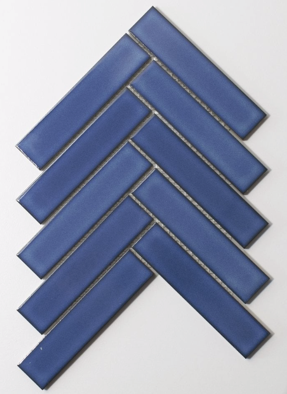 Herringbone Gloss Blue Mosaic Tiles