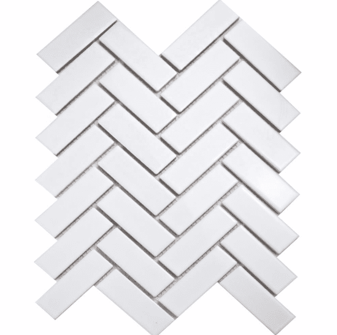 Herringbone White Gloss Mosaic Tiles