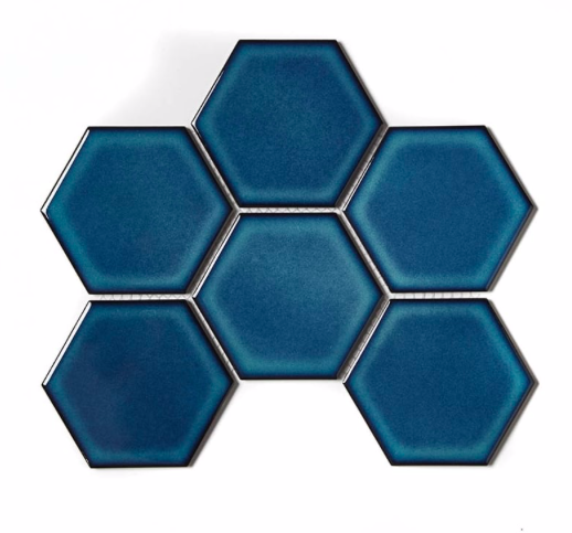 Hexagon Gloss Crystal Blue Mosaic Tiles