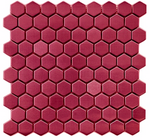 Hexagon Gloss Dark Pink Mosaic Tiles