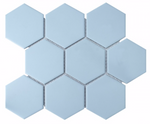 Hexagon Matt Light Blue Mosaic Tiles