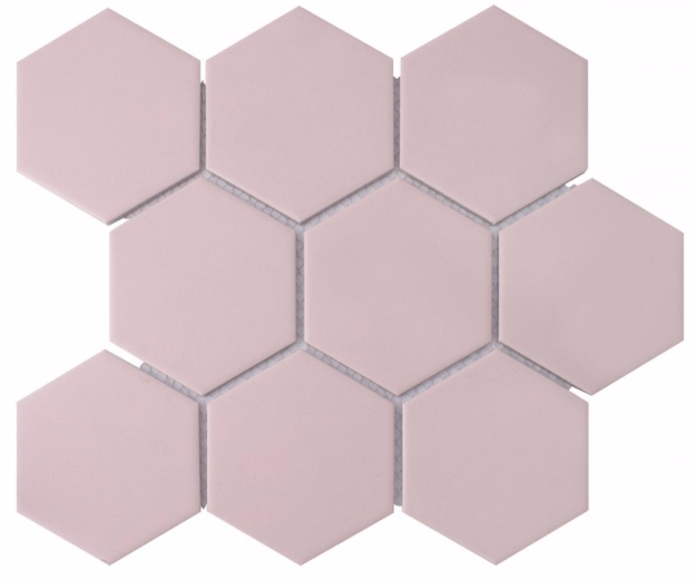 Hexagon Matt Pink Mosaic Tiles