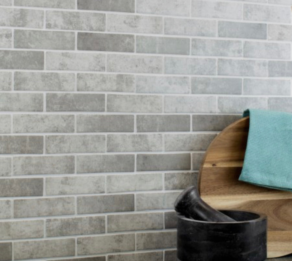 Stylo Brick Effect Stone Grey Mosaic Tiles