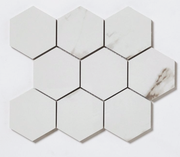 Large Marble Effect Hexagon Mosaic Tiles