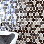 Leather Textured Glass Hexagon Mosaic Tiles