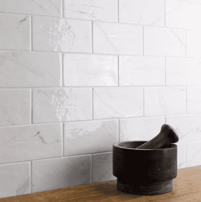 Marble Effect Bevelled Gloss Rustic 15 x 7.5 Metro Tiles