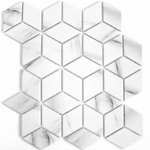 Marble Effect Cube Matt Hexagon Mosaic Tiles
