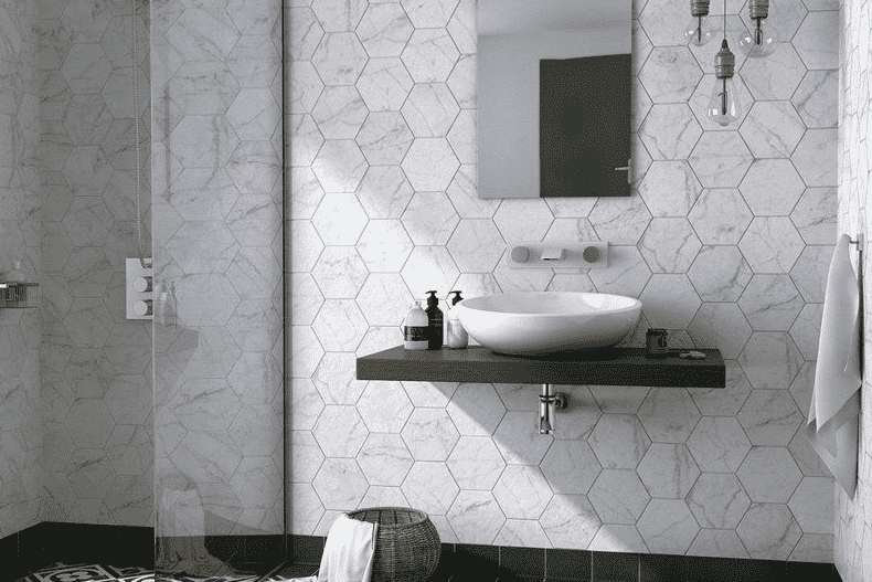 marble-effect-white-hexagon-tiles