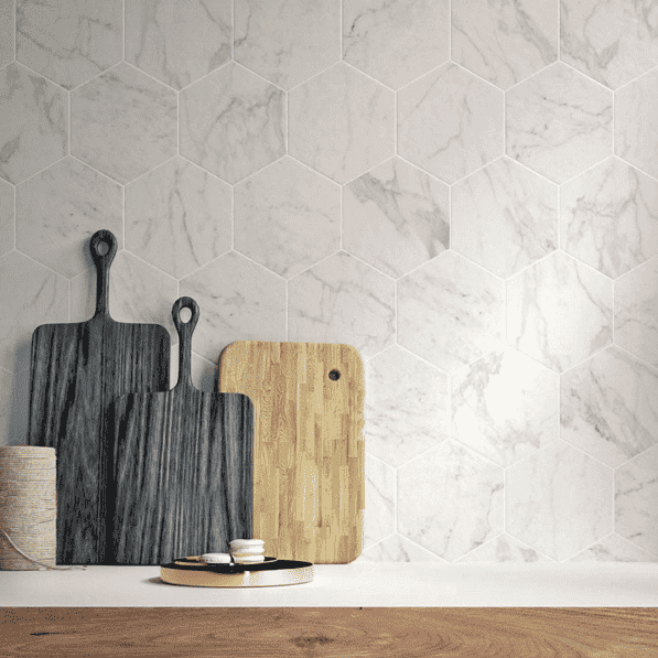 Marble Vein Hexagon Tiles