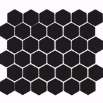 Medium Black Gloss Hexagon Mosaic Tiles
