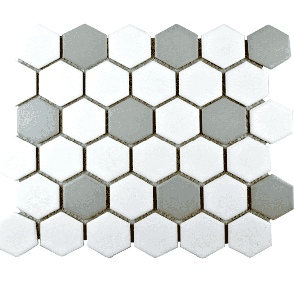 Medium Grey And White Matt Hexagon Mosaic Tiles