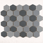 Medium Grey Mix Matt Hexagon Mosaic Tiles