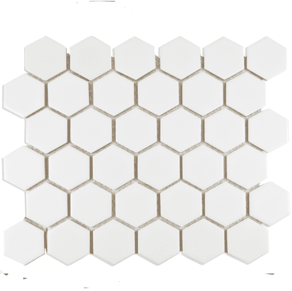 Medium White Gloss Hexagon Mosaic Tiles