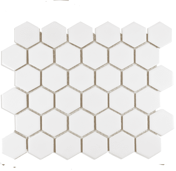 Medium White Matt Hexagon Mosaic Tiles