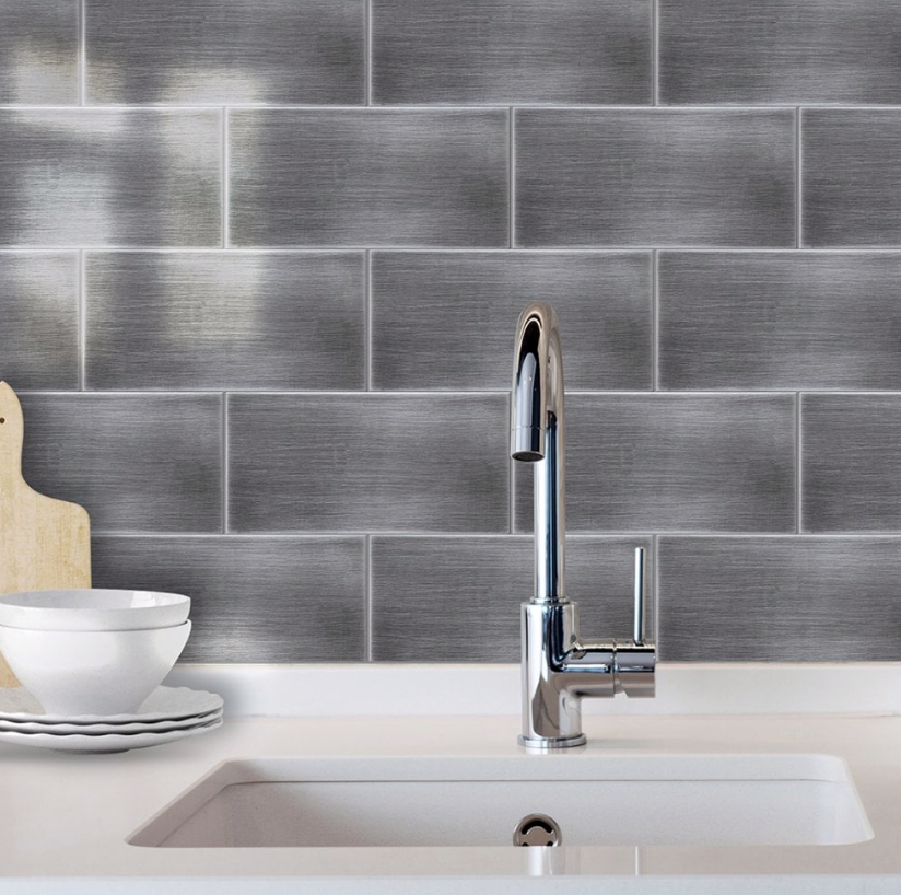 Metals Brushed Silver Metro Tiles