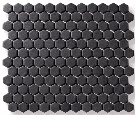 Micro Anthracite Hexagon Mosaic Tiles