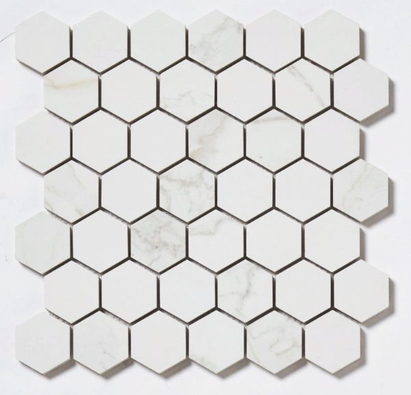 Mini Marble Effect Hexagon Mosaic Tiles