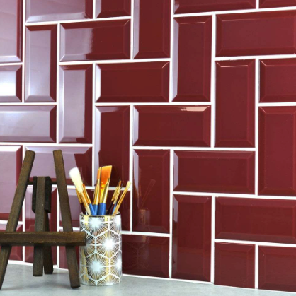 Mini Metro Deep Red Wall Tiles 15cm x 7.5cm