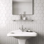 Mini White Gloss Hexagon Tiles