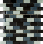 Mixed Black Glass Mosaic Tiles