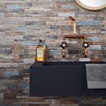 Mixed Blue Split Face Wood Tiles