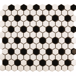 Monochrome Chequer Gloss Hexagon Mosaic Tiles