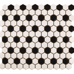 Monochrome Chequer Matt Hexagon Mosaic Tiles