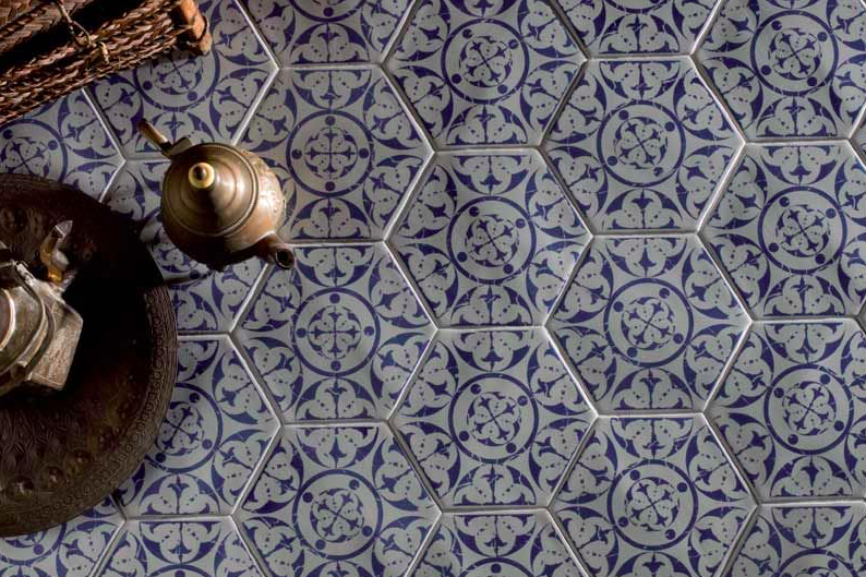Moroccan Blue Hexagon Encaustic Effect Tiles