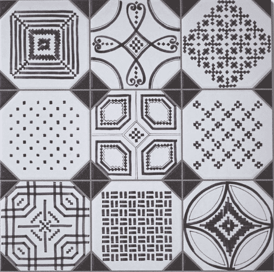 Mosaic Dotted Monochrome Pattern Tile