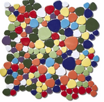 Multi-Coloured Pebble Mosaic Tiles
